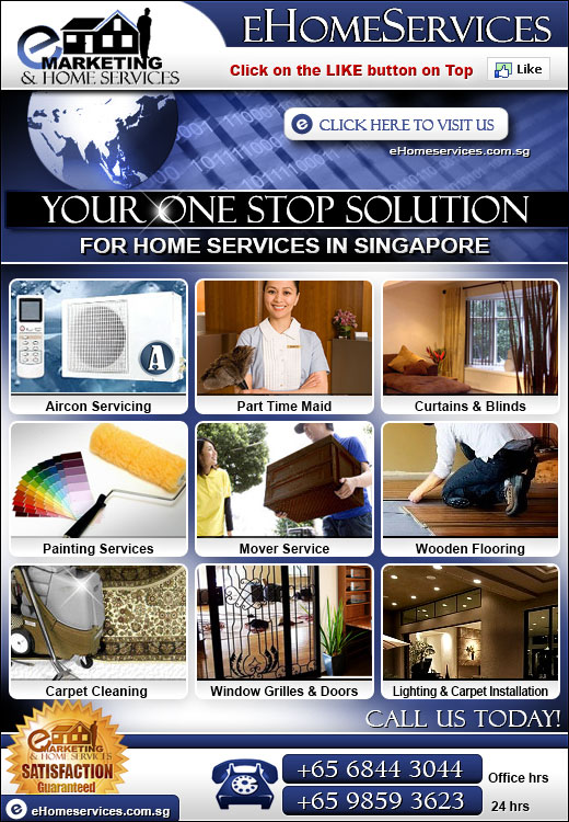 Your one stop internet marketing & home serrvices in Singapore. We are specialists in: Internet marketing, website consulatation, part time home and office helper, seo, socoal media marketing, general home services, aircon services, movers and storage in Singapore
